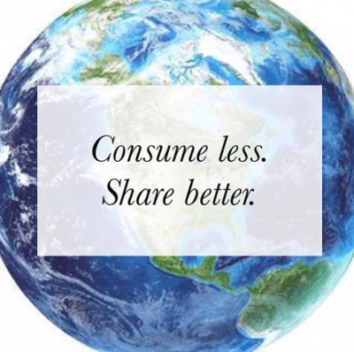 planet earth with Consume Less Share Better
